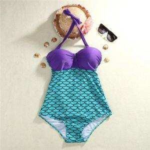 Little Mermaid XXL One Piece Bathing Suit Green/Pu